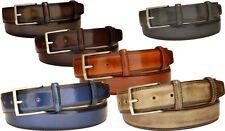 Cintura uomo vera pelle anticata a mano altezza 3,5 cm fibbia free accorciabile
