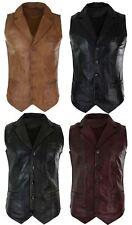 Mens Real Leather Tan Brown Black Smart Casual Gilet Waistcoat Vintage Retro
