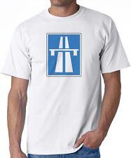 White T-Shirt AUTOBAHN blue graphic Germany Porsche Bmw Mercedes Benz kraftwerk