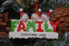 Personalised or Plain Christmas / Xmas Tree Bauble - 3 Family **FREE GIFTBAG**