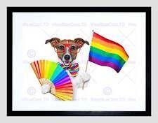 Ilustración de pintura Jack Russell Perro Orgullo Gay Bandera De Impresión Arte Enmarcado B12X12934