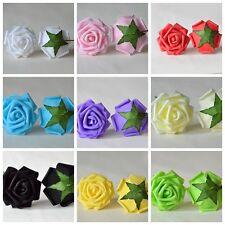 100Colourfast Foam Roses Artificial Flower Wedding Bride Bouquet Party