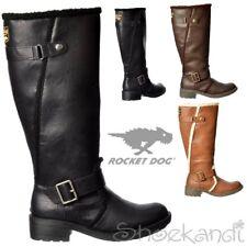 Womens Rocket Dog Teyla Stable Fur Trimmed Tall Flat Boots Black Brown Pecan 4-8