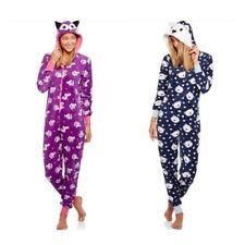 NEW Women's Fleece Critter Hooded One Piece Pajamas Onesie Bear Fox S M L XL