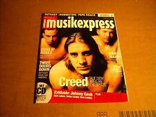 MUSIK EXPRESS SOUNDS 3 MÄRZ 2001  - CREED / GUNS N' ROSES / JOHNNY CASH - mit CD