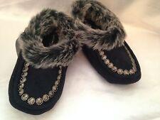 Cejon Women's  black Boot Moccasin slippers fur shoe warm brand new
