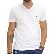 Lacoste T-Shirt V-Neck Kurzarm Baumwolle Herren Weiß Blanc TH2036 001
