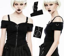 T-shirt haut zippé gothique punk lolita fashion épaules nues anneaux PunkRave