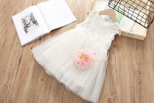 Wedding Bridesmaid Flower Girl Dress Party Holiday 2-6 year White High Waist