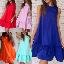 Summer Fashion Women Girls Casual Beach Ruffle Sleeveless Mini Short Dress Tops