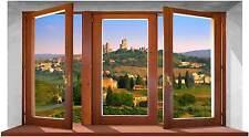 Sticker Trompe L'oeil Adesivo Finestra in Legno su Paesaggio Toscano