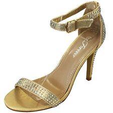 New women's shoes evening rhinestones buckle closure high heel prom formal gold