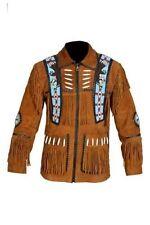 Men's Beaded Fringed Suede Leather Western Cowboy eagle Jacket