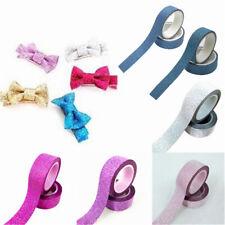 2 Rolls Glitter Sheer Satin Ribbon Edge Hair Bows Wedding Gift Wrap Crafts 15mm