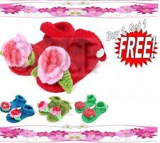 Crochet Baby Shoes Girls Infants Handmade Woollen Knitted Sandals 0-9 Months