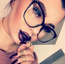 "OVERSIZED Big ""Miss FEARLESS""  Cat Eye  Gold Metal Arm Women Eyeglasses Clear"