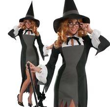 Ladies PURITAN SCHOOL WITCH Halloween Fancy Dress Costume Adult Clever Horror