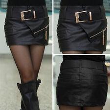 Damen Kunstleder Minirock Trend Optik Business Rock Lederrock Skirt Gürtel R007