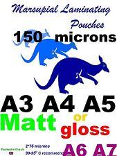 MATT ~ GLOSS A3 A4 A5 A6 A7 Laminating pouches :pick how thick: 80 to 350micron