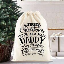 Christmas Santa Sack Gift Bag | First Christmas as a Daddy | Personalised