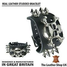 Crâne & Spike Mix 100% Cuir Véritable Fait Main Bracelet Bracelet Made in England