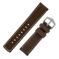 Hirsch MARINER Waterproof Waxed Calfskin Leather Watch Strap & Buckle in BROWN