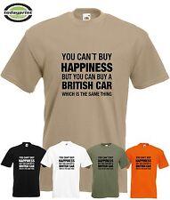 T Shirt CAN´T BUY HAPPINESS BRITISH CAR  - für Jaguar, MG, Triumph, Morgan, Fans