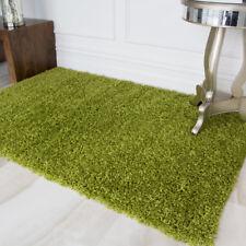 Fern Grass Earthy Green Warm Shaggy Pile Area Rug Living Room Bedroom Floor Rugs