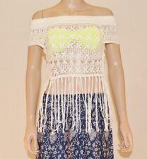 Miss Selfridge White Cotton Crochet Tassel Bardot Gypy Boho Top Size S M L A42
