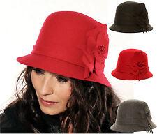 New Wool hat cloche women felt Look Hawkins side flowerlad Black Grey Red