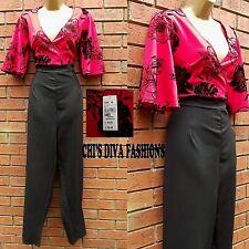 QUIZ Curve Beautiful Black/Red Flock Floral Printed Wrap Jumpsuit  Size 16-26