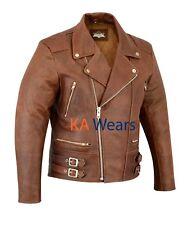 Mens Classic Leather Brando Jacket Biker Motorbike Motorcycle Vintage Perfecto