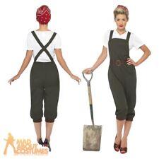 WW2 1940s Land Girl Womens Army World War 2 Fancy Dress Costume Size UK 8 - 26