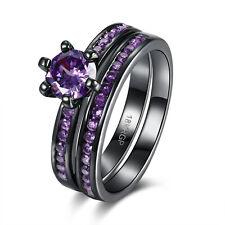 Size 6-8 Sapphire zircon Wedding lovers Ring 18KRGP black Gold Filled Jewelry