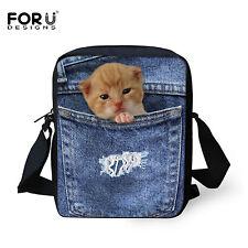 Cross Body Messenger Shoulder Bag College Girls Fashion Animal Hobo Purse Blue