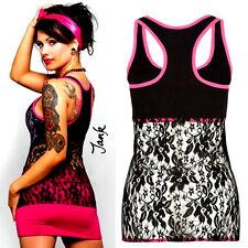 METAL MULISHA Betsey Black & Pink Lace Back Cami Rose Johnson Tattoo Tank Top