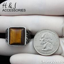 MEN's Stainless Steel Tiger Eye Silver Black Ring Size 8-13*ATR37