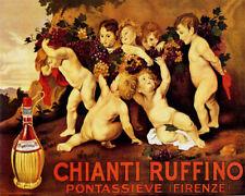 POSTER CHIANTI RUFFINO ITALIAN RED WINE CHERUBIMS GRAPES VINTAGE REPRO FREE S/H