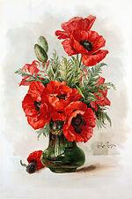 Red Poppies by Paul de Longpre (Art Print of Vintage Art)