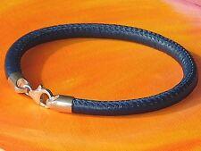 Mens / ladies 5mm Blue nappa leather & sterling silver bracelet by Lyme Bay Art.