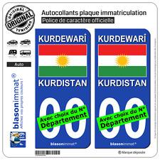 2 Stickers autocollant plaque immatriculation Auto : Kurdistan - Drapeau