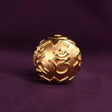 Pure 24K Yellow Gold Pendant Women & Men DIY 3D Six-word mantra Bead