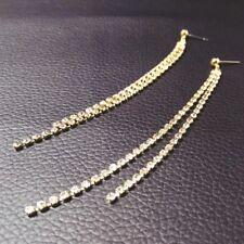 Crystal Dangle Drop Earrings Silver Gold Bridal Rhinestone Long Chain Earrings