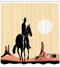 Western Shower Curtain Cowboy Horse Sunset Print for Bathroom