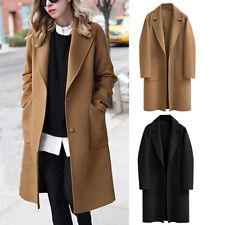 Womens Winter Lapel Button Long Trench Coat Jacket Ladies Overcoat Outwear HOT