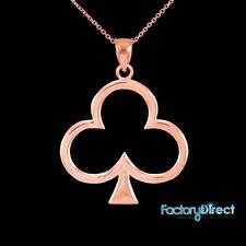 10k 14k ROSE GOLD LUCKY SHAMROCK FOUR-LEAF CLOVER  NECKLACE CHAIN IRISH CHARM