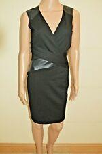 New Lipsy Black V Neck PU Leather Look Panel Dress Sz UK 10