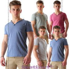 Maglietta uomo t shirt maniche corte maglia slavata stonewashed collo a V IL6015