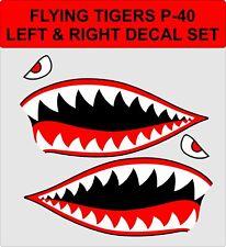 Flying Tigers Shark Teeth P-40 Warhawk WW2 Vinyl Decal Stickers