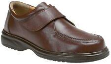 Roamers Cierre Táctil Delantal de Cuero Zapatos De Calce Ancho Ligero Ocio Marrón L